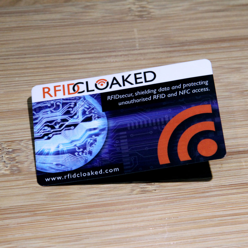 RFID blocking card in electronic world design by RFID Cloaked stops both bank cards and HID prox security access passes