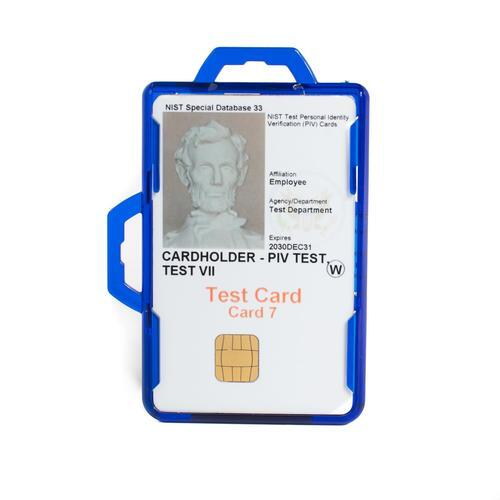 RFID Secure Badge Holder, Two Cards DuoLite blue ID Stronghold RFID Cloaked, photo