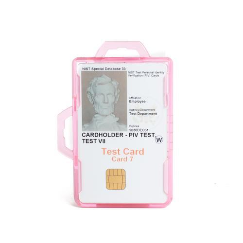 RFID Secure Badge Holder, Two Cards, DuoLite pink ID Stronghold RFID Cloaked, photo
