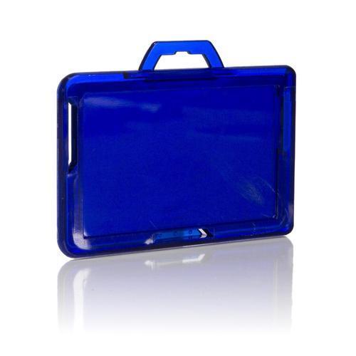RFID Secure Badge Holder, One Card, Landscape back blue ID Stronghold RFID Cloaked