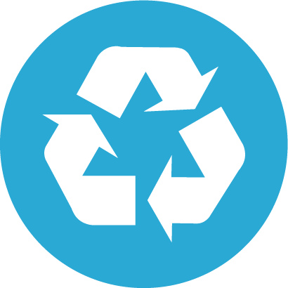 Recycle logo in blue circle